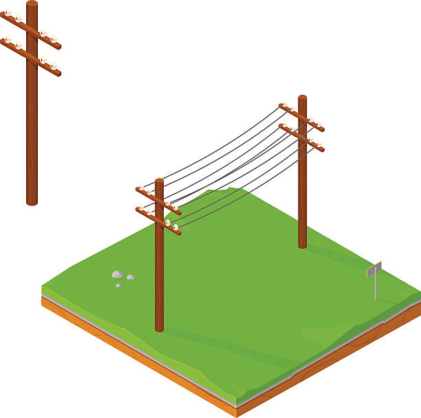 stockillustraties, clipart, cartoons en iconen met isometric power lines - hoogspanningsmast
