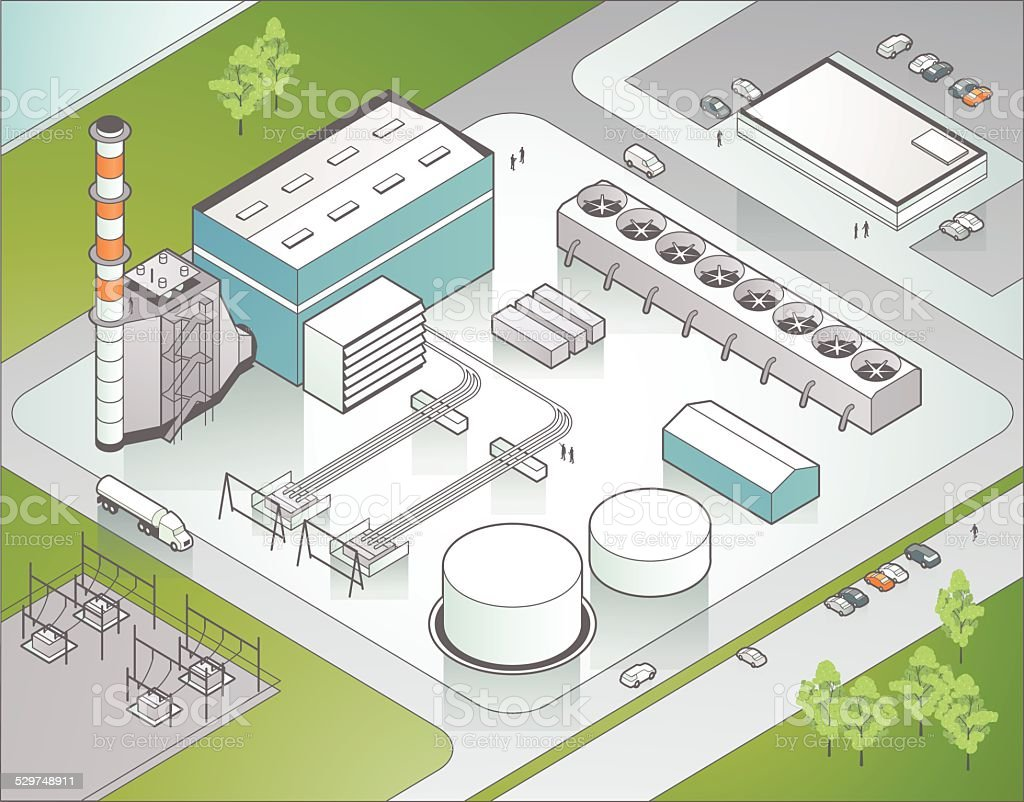 Isometric Power Plant Illustration vector art illustration