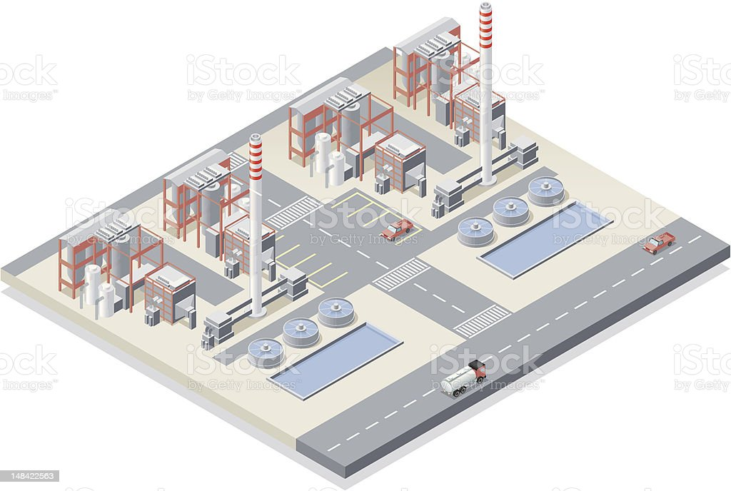 Isometric, Power Station royalty-free isometric power station stock vector art & more images of chimney