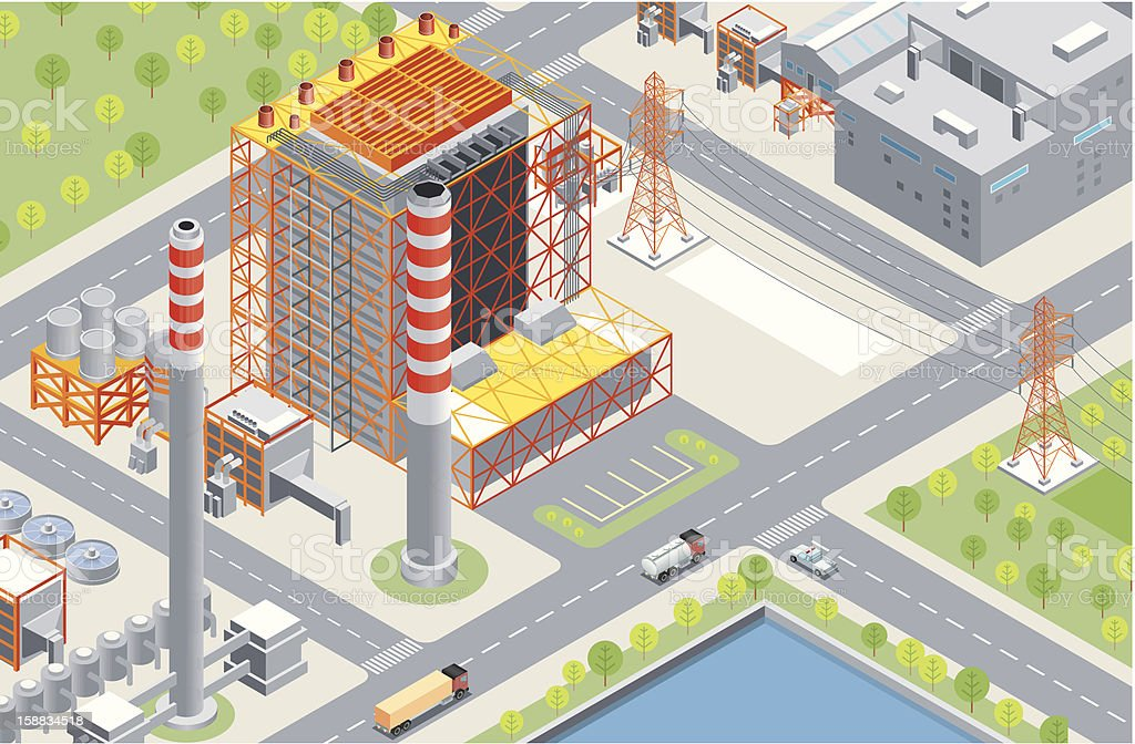Isometric, Power Station royalty-free isometric power station stock vector art & more images of architecture