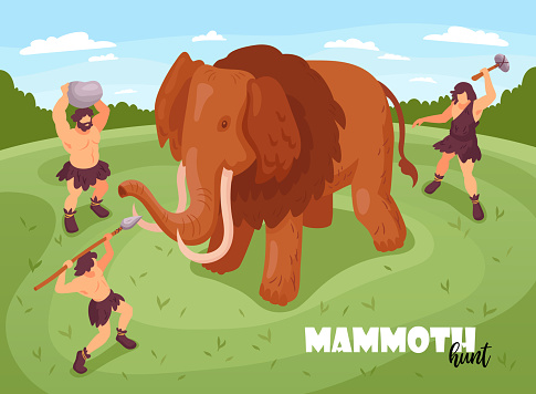 Isometric primitive people caveman hunting background composition with text and images of mammoth and ancient folks vector illustration