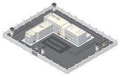 Isometric Prison Building.