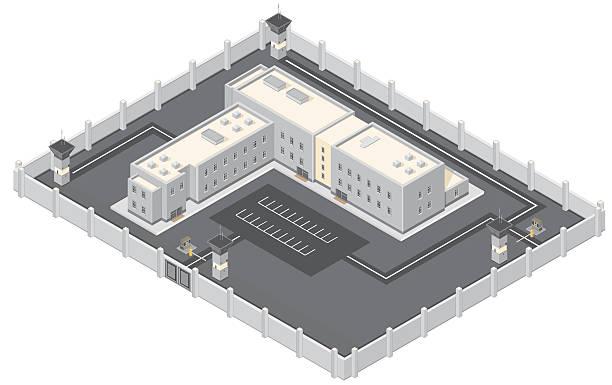 illustrations, cliparts, dessins animés et icônes de isométrique prison bâtiment. - prison