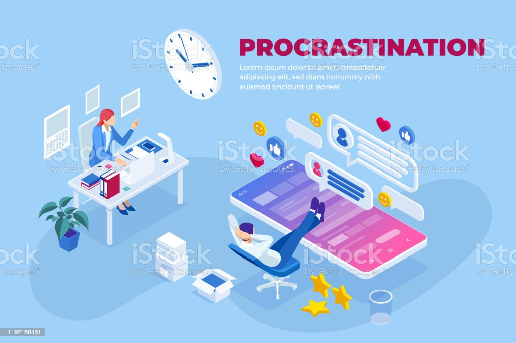 Isometric procrastination at working place concept. Office worker procrastinating for as long as possible before getting back to work. Isometric procrastination at working place concept. Office worker procrastinating for as long as possible before getting back to work Adult stock vector