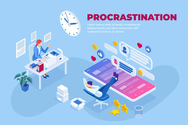 Isometric procrastination at working place concept. Office worker procrastinating for as long as possible before getting back to work. Isometric procrastination at working place concept. Office worker procrastinating for as long as possible before getting back to work careless stock illustrations