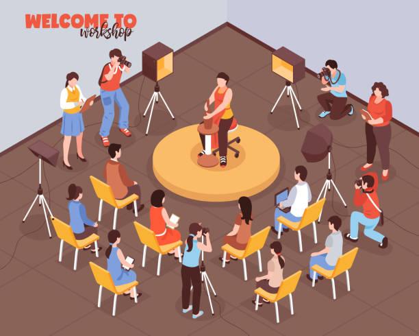 ilustrações, clipart, desenhos animados e ícones de feira isométrica artista master class ilustração - salas de aula