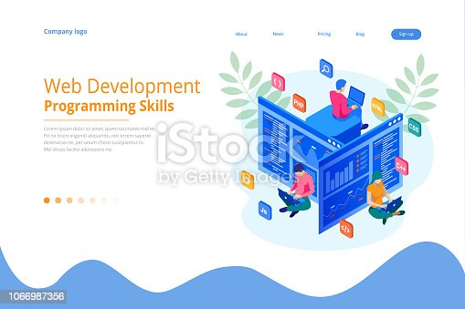 Isometric programmer coding new project. Web Development and Programming Skills for website. WEB Banner illustration project team of engineers for website, PHP, HTML, CSS, Js