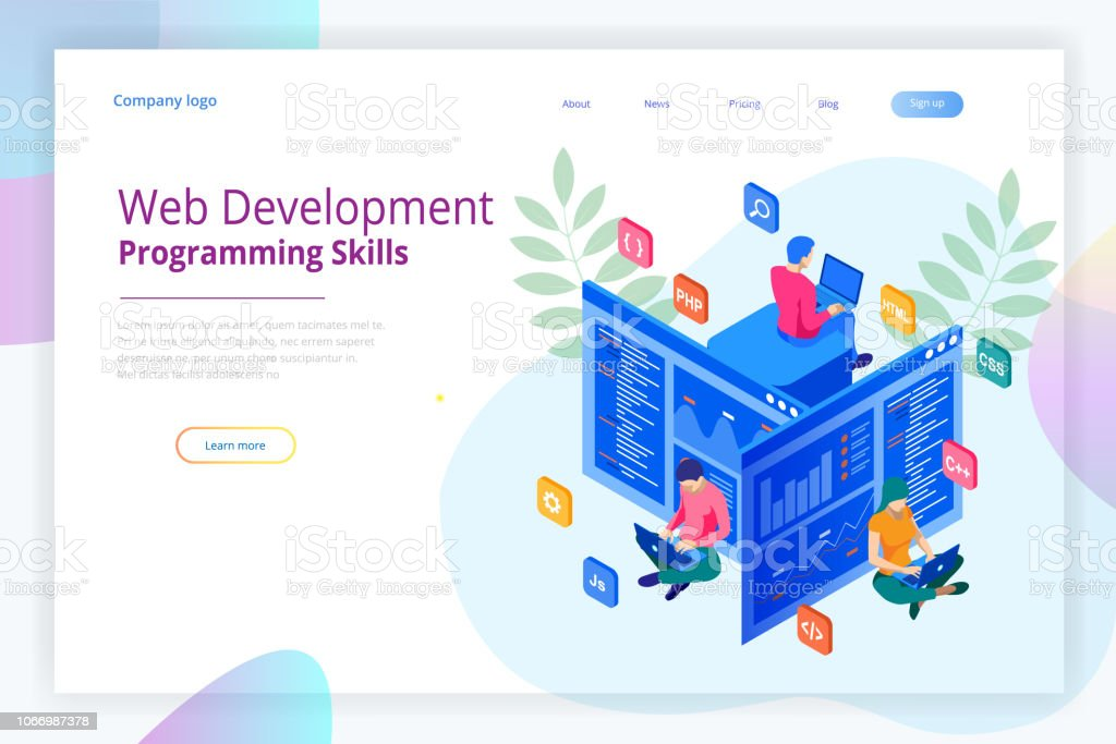 c37b9d489ba Isometric programmer coding new project. Web Development and Programming  Skills for website. WEB Banner illustration project team of engineers for  website