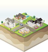 Isometric Projection of Suburban Homes and Ground Layers