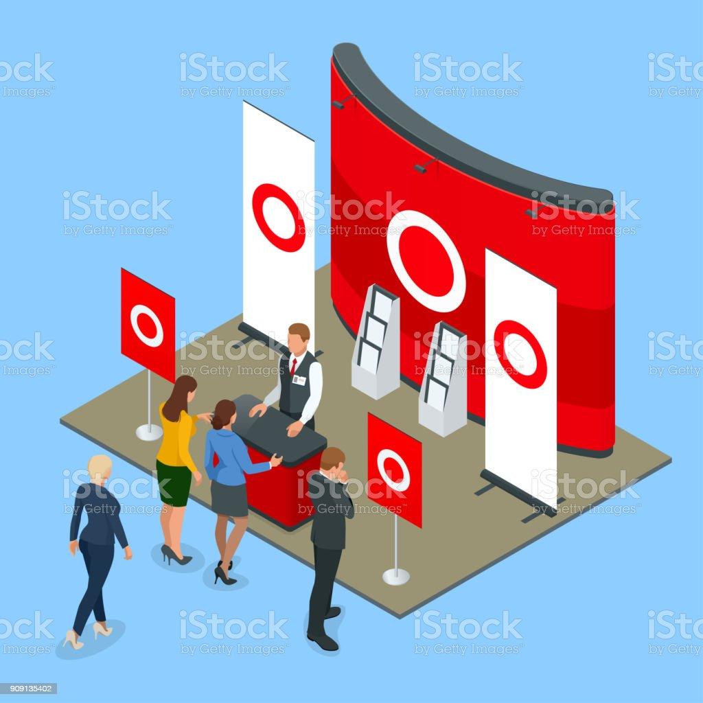 Soportes promocionales isométricas o exposición soportes incluyendo estantes de exhibición del escritorio y las personas con productos y entrega - ilustración de arte vectorial