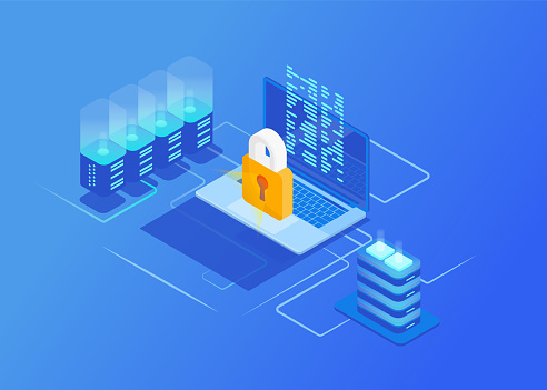 Isometric Protection network security concepts. Laptop with data and protection against hacker attacks. Cyber Security. Vector illustration