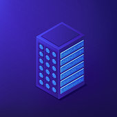 Isometric proxy server concept. Clients requests for server resources, IP address blocking and personal data in global internet web on ultra violet background. Vector 3d isometric illustration.