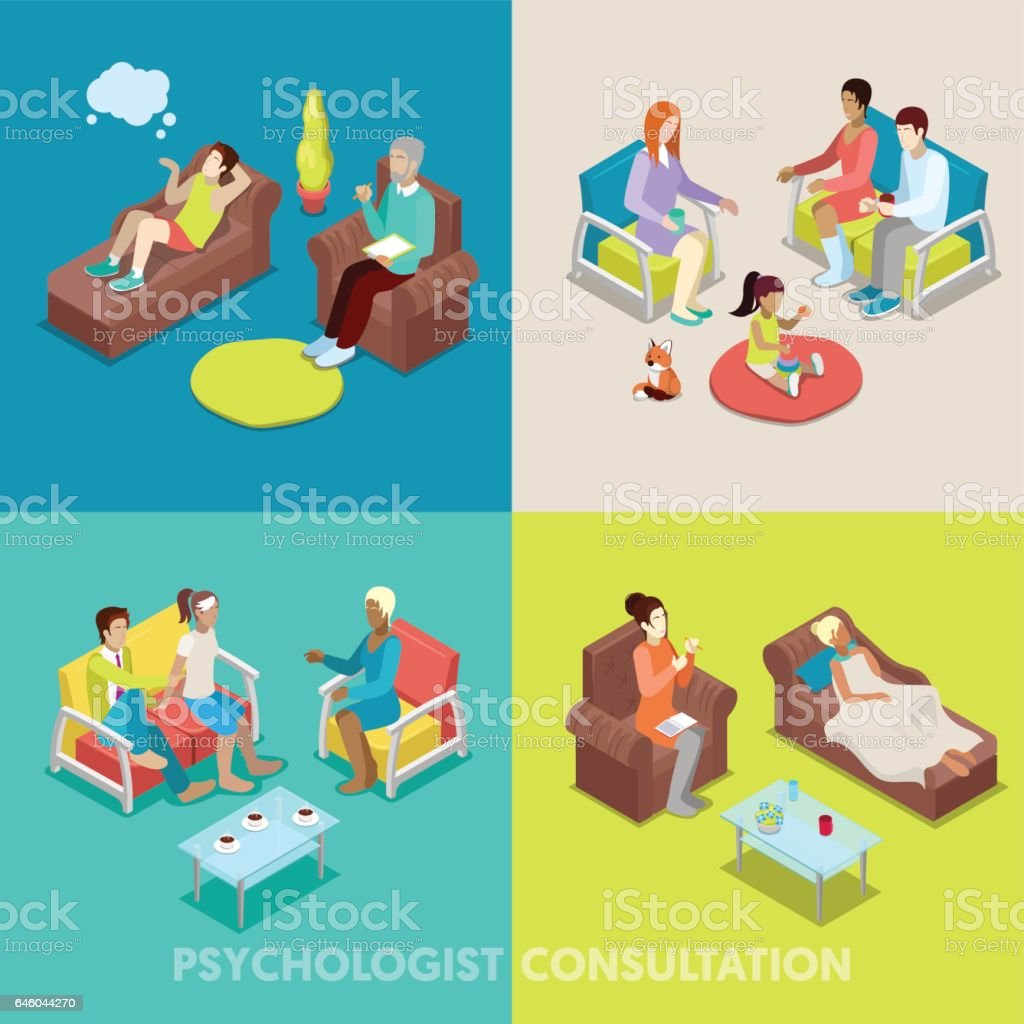 Isometric Psychologist Consultation Psychotherapy vector art illustration