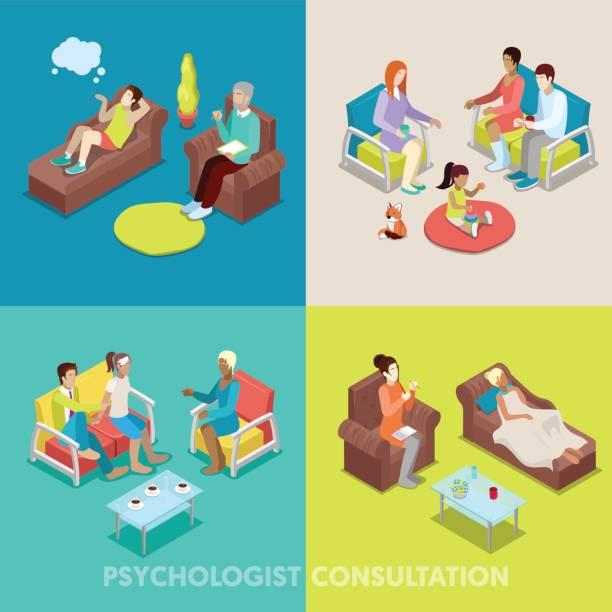 ilustraciones, imágenes clip art, dibujos animados e iconos de stock de isométrica psicólogo consulta psicoterapia - profesional de salud mental