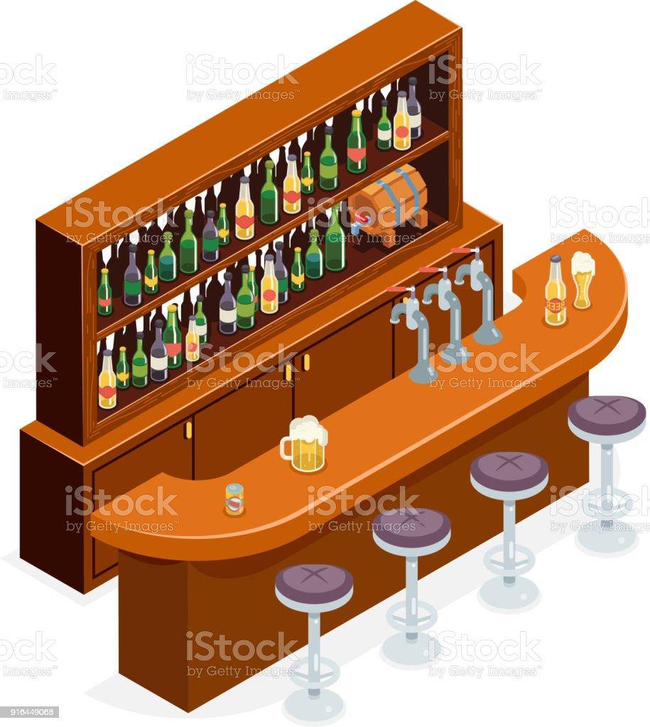 Isometric Pub Bar Restaurant Cafe Symbol Alcohol Beer House Interior