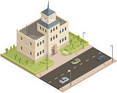 Isometric government building in vector.