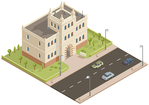 Isometric public building with garden