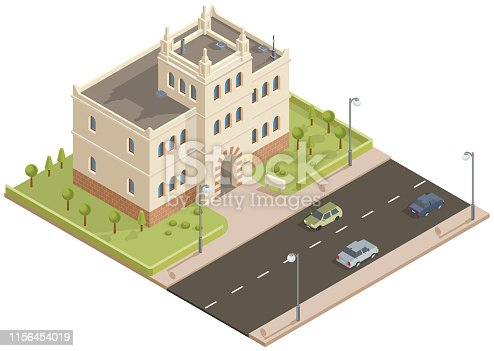Isometric public building with garden and trees in vector