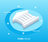 Isometric Public Sector Vector Web Banner & Icon Design