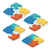 Vector illustration. Isometric design. A set of puzzles in different variations of the connection.