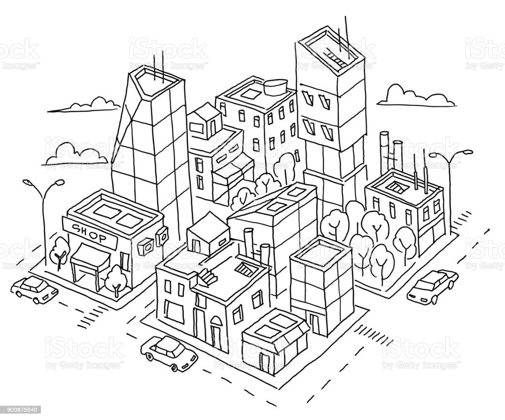 architectural drawings of skyscrapers.  Skyscrapers Isometric Quarter Big City Sketch Skyscrapers And Highrise Buildings  Home Architecture Throughout Architectural Drawings Of