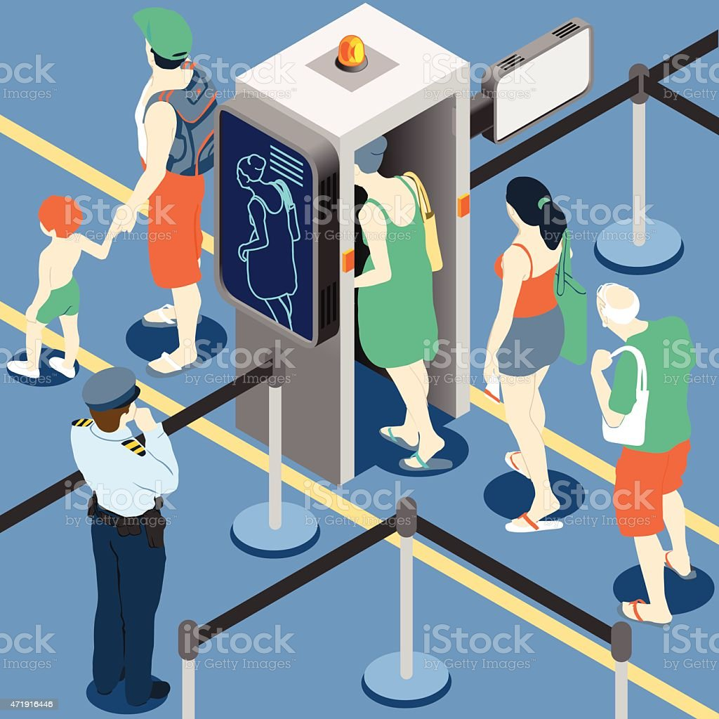 Isometric Queue at Security Checkpoint Machine vector art illustration