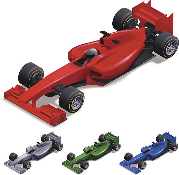 Isometric Racing Car Isometric racing car vector illustration in 4 colours. Download includes EPS file and hi-res jpeg. indy racing league indycar series stock illustrations