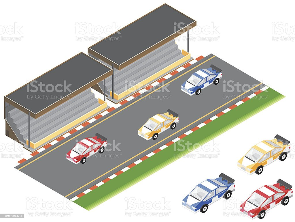 Isometric Racing Cars and Sports Venue vector art illustration
