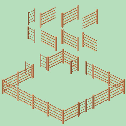 Isometric Rail Fence Building Kit