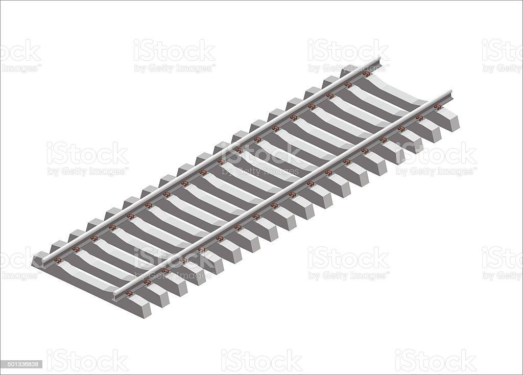 isometric railroad track vector art illustration