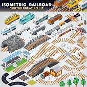 Isometric Railroad Train. Detailed 3D Illustration