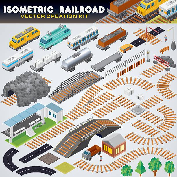 illustrations, cliparts, dessins animés et icônes de isométrique railroad train. illustration 3d détaillée - voie ferrée