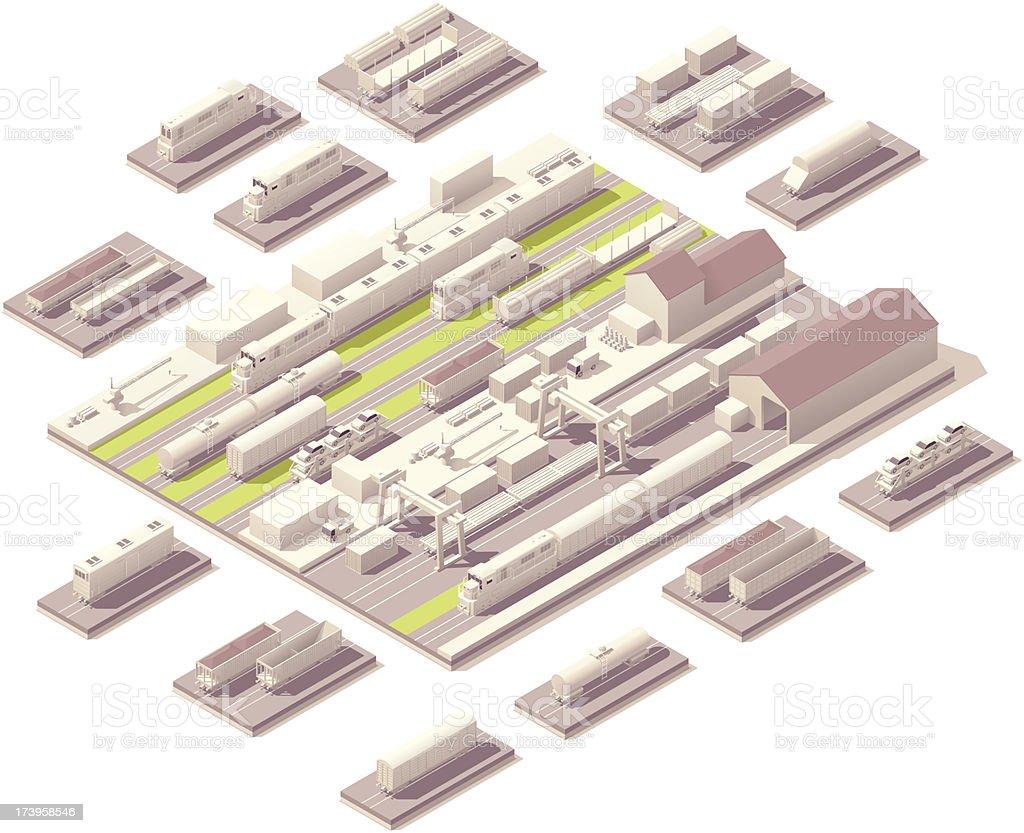 Isometric railroad yard vector art illustration