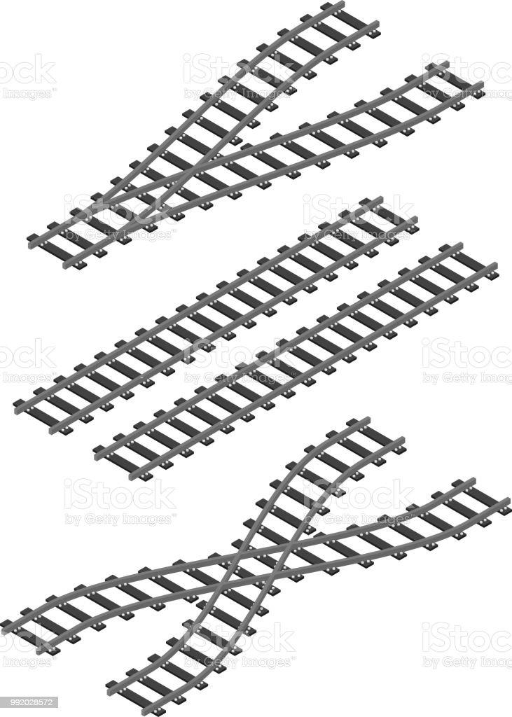 isometric railway train road rails constructor elements flat design