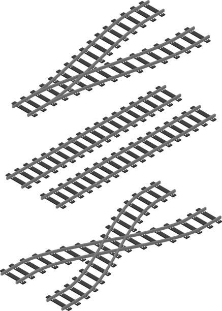 illustrations, cliparts, dessins animés et icônes de isométrique de chemin de fer train routier rails constructeur éléments design plat illustration vectorielle - voie ferrée