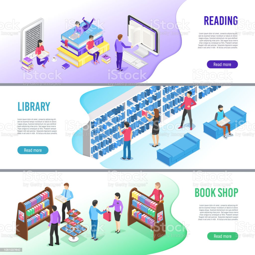 Isometric Read Book Banner Online Library Books With