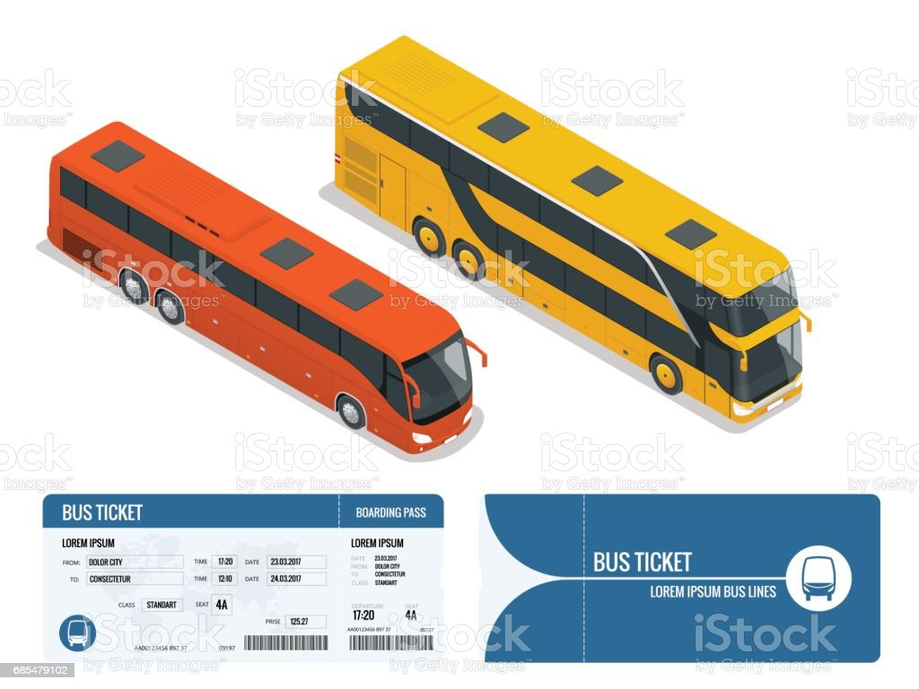 Isometric realistic bus and boarding pass ticket template design isolated on white background. Travel around the world and countries. Recreation and entertainment. Business trip. Vector illustration vector art illustration