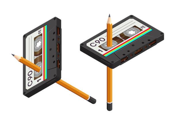 ilustrações, clipart, desenhos animados e ícones de gaveta compacta isolada realista isométrica e um lápis como uma ferramenta para rebobinar-80s retro - fita cassete
