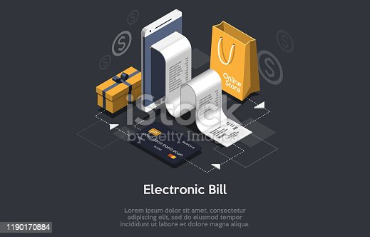 Isometric receipt of statistics data, notification on financial transaction, mobile bank, smartphone with a paper bill. Analysis and statistic online services. Vector illustration.