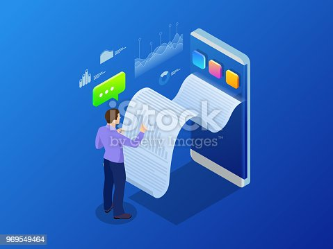 Isometric receipt of statistics data, notification on financial transaction, mobile bank, smartphone with a paper bill. Analysis and statistic online services