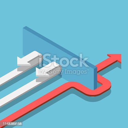 Flat 3d isometric red arrow find the way through the wall to success. Business solution concept.
