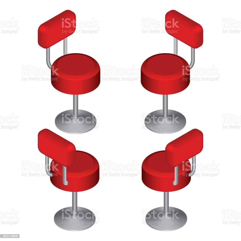 Chaises De Bar Rouge Isometrique Definie Chaise Haute Illustration Vectorielle