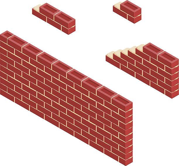 illustrations, cliparts, dessins animés et icônes de isométrique mur de brique rouge - mur d'enceinte