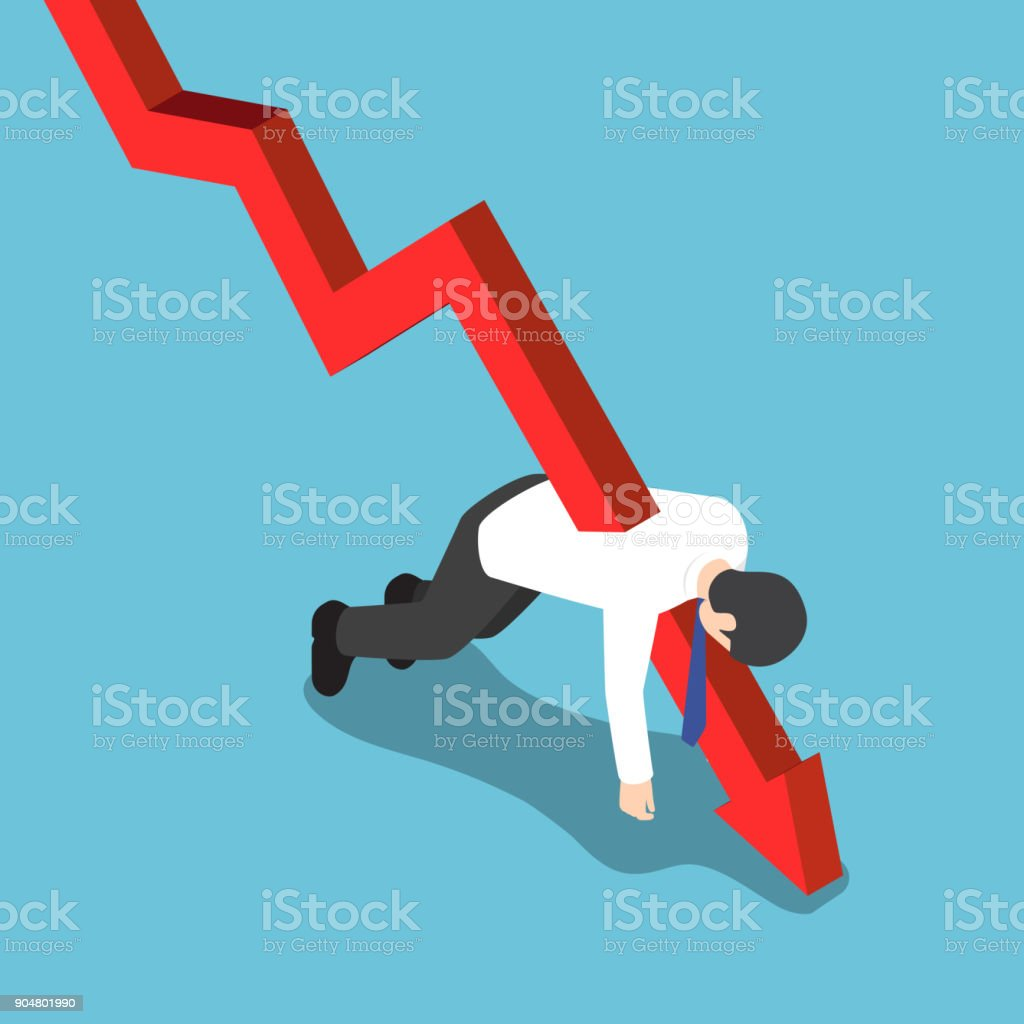 Isometric red falling graph stabbed through businessman. vector art illustration