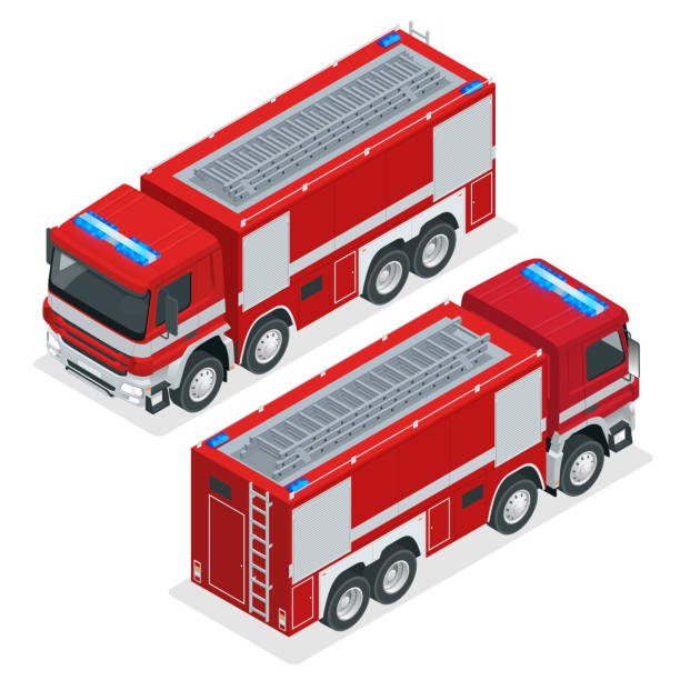 Isometric Red fire truck, vehicle of Emergency. Firefighters design element. Vector Illustration on a white background. Isometric Red fire truck, vehicle of Emergency. Firefighters design element. Vector Illustration on a white background fire station stock illustrations