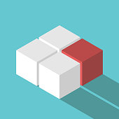 Isometric red unique missing cube. Leadership, solution and uniqueness concept. Flat design. Vector illustration, no transparency, no gradients