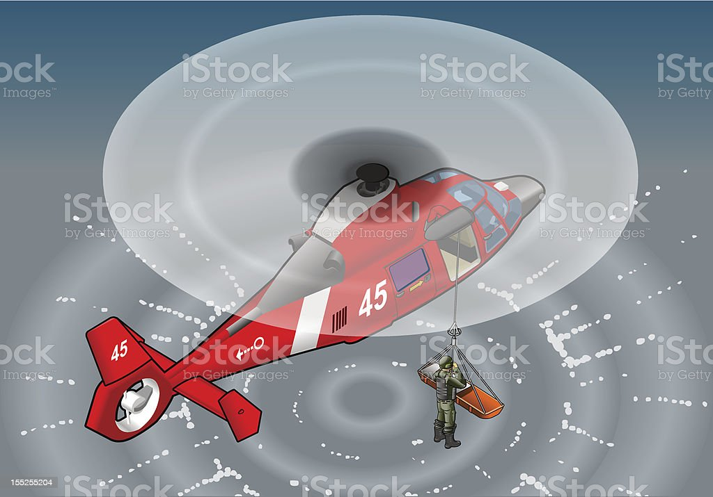 isometric red rescue helicopter in flight royalty-free stock vector art