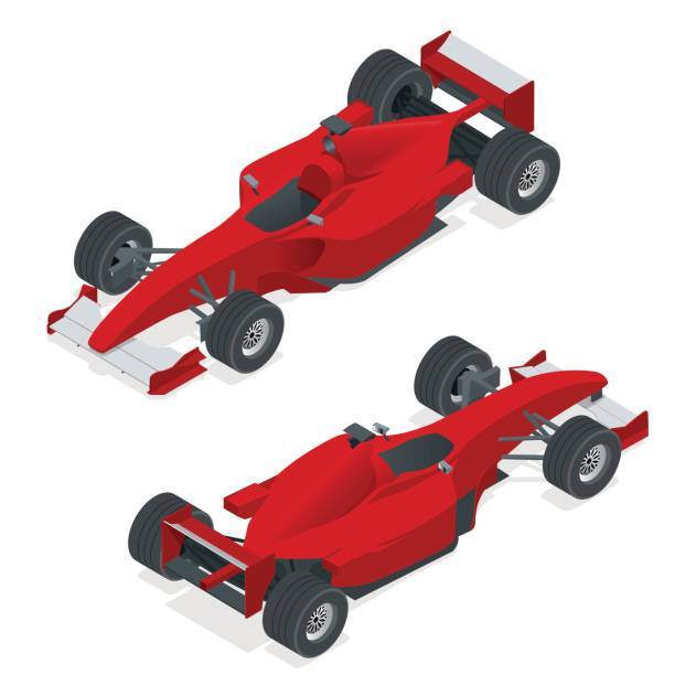 isometric red sport car or formula 1 car. flat 3d isometric illustration. for infographics and design - formula 1 stock illustrations