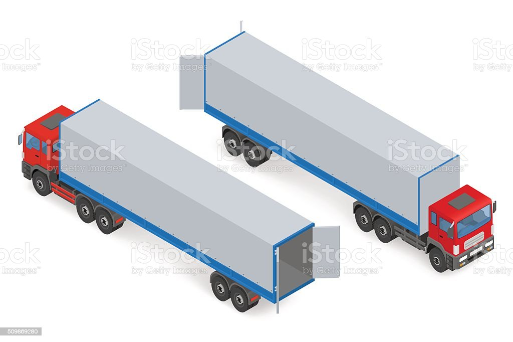 Isometric red truck without a trailer vector art illustration
