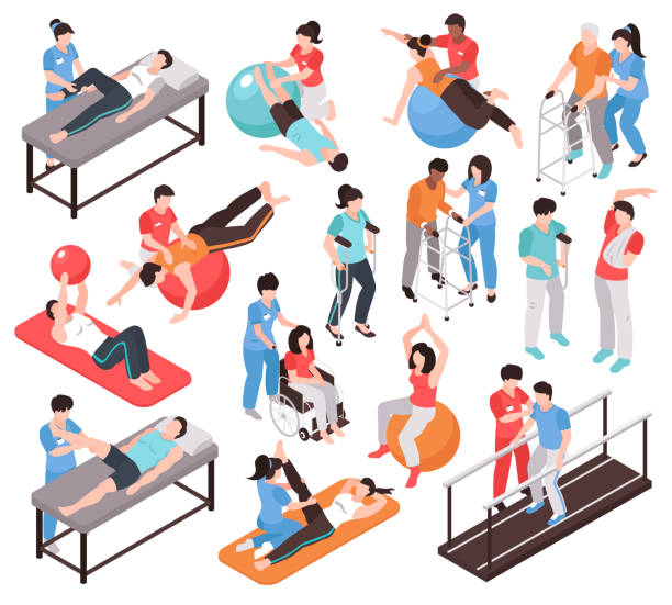 Isometric Rehab People Icons Isometric rehabilitation physiotherapy people set of isolated faceless characters of doctors and patients on blank background vector illustration physical therapy stock illustrations